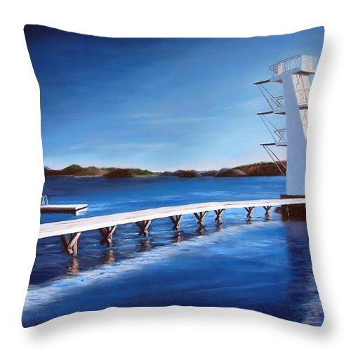 Diving Board Throw Pillow featuring the painting Farsund Badehuset On A Sunny Day by Janet King