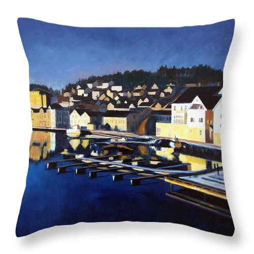 Seascape Throw Pillow featuring the painting Farsund In Winter by Janet King