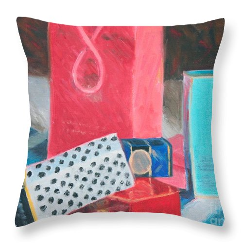 Still Life Throw Pillow featuring the painting Fashion Boxes by Candace Lovely