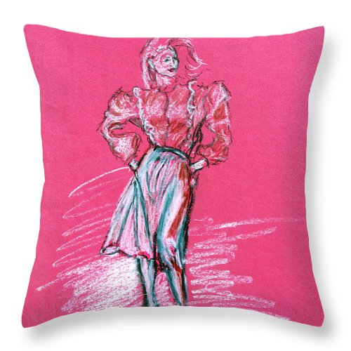 Fashion Throw Pillow featuring the pastel Fashion Figure by Tom Conway