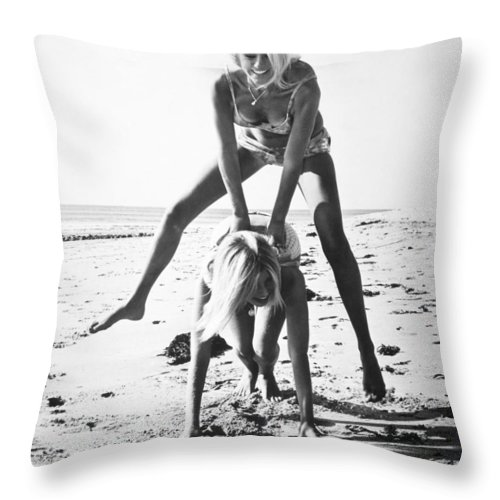1964 Throw Pillow featuring the photograph Fashion: Womens Swimsuits by Granger