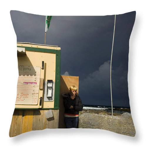 Ireland Throw Pillow featuring the photograph Fast Food - Doolin Ferry by Roger Leege