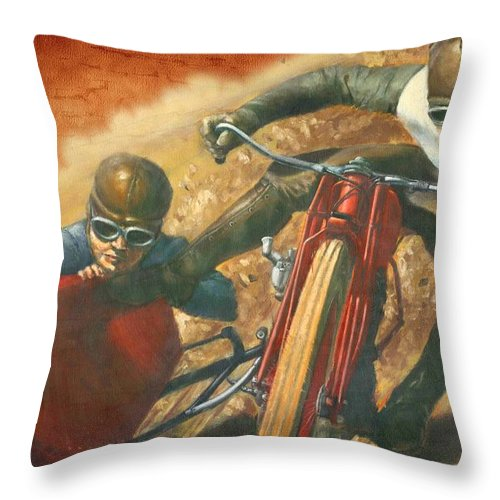 Motorcycle Throw Pillow featuring the digital art Fast Track by John Madison