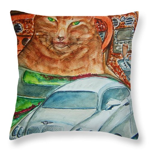 Cat Throw Pillow featuring the painting Fat Cat And The Bentley by Elaine Duras