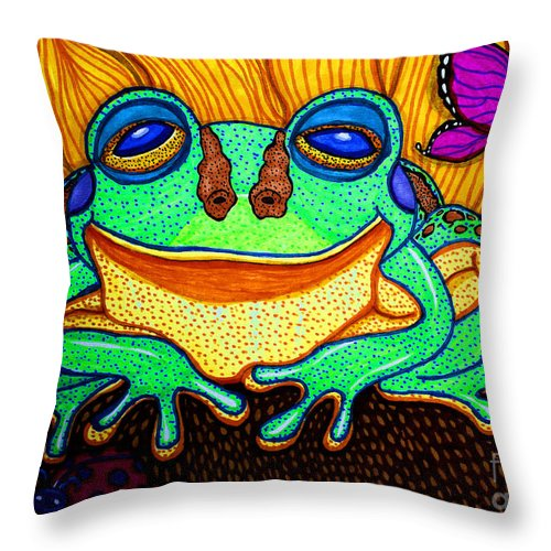 Frog Throw Pillow featuring the drawing Fat Green Frog On A Sunflower by Nick Gustafson