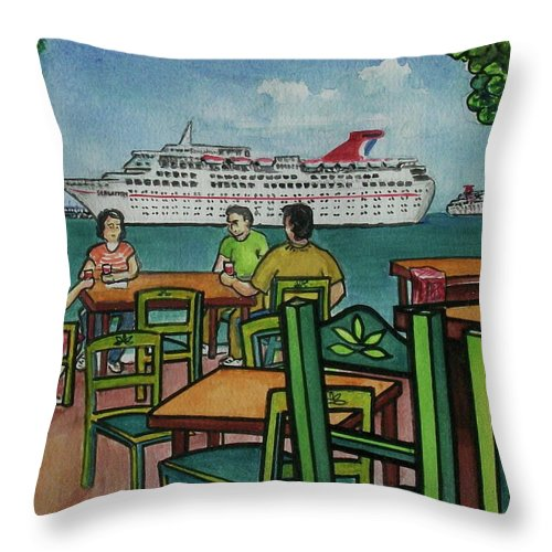Carnival Cruise Ship Tables Chairs Deck Fat Tuesday Mexico Yucatan Throw Pillow featuring the painting Fat Tuesdays In Cozumel Yucatan Mexico by Frank Hunter