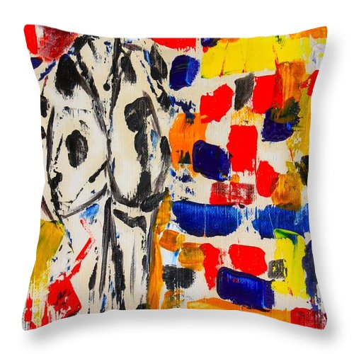 Oil Throw Pillow featuring the painting Father And Daughter by Roger Cummiskey