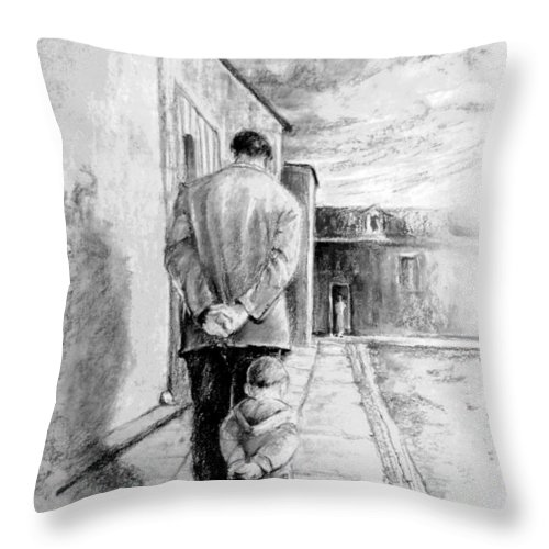 Portraits Throw Pillow featuring the drawing Father and Son by Miki De Goodaboom