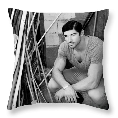 Www.williamdey.com Throw Pillow featuring the photograph Faubourg Alley Man Bw by William Dey