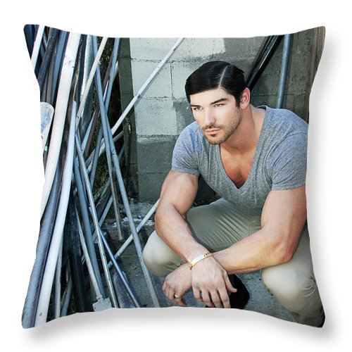 Marlon Brando Throw Pillow featuring the photograph Faubourg Alley Man by William Dey