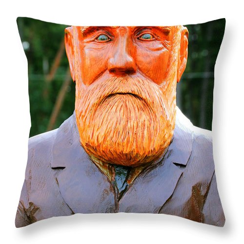 Wooden Throw Pillow featuring the photograph Fear The Beard Golfer by Tap On Photo
