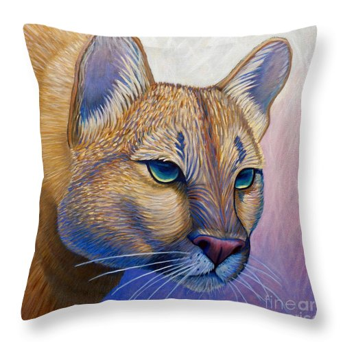 Mountain Lion Throw Pillow featuring the painting Fearless by Brian Commerford