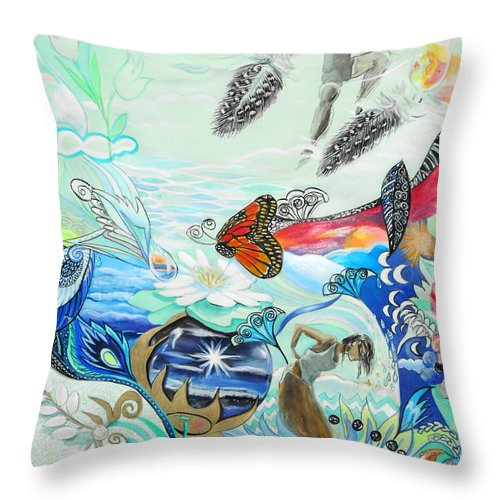 Feather Throw Pillow featuring the painting Feathers by Lucia Hoogervorst