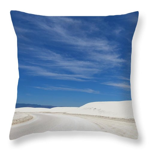 White Throw Pillow featuring the photograph Feathery Clouds Over White Sands by Christiane Schulze Art And Photography