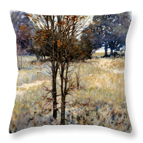 Landscape Throw Pillow featuring the painting Feathery Field by Kevin Lawrence Leveque