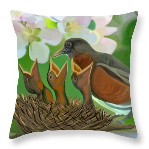 Birds Throw Pillow featuring the painting Feed Me Momma by Susanna Katherine