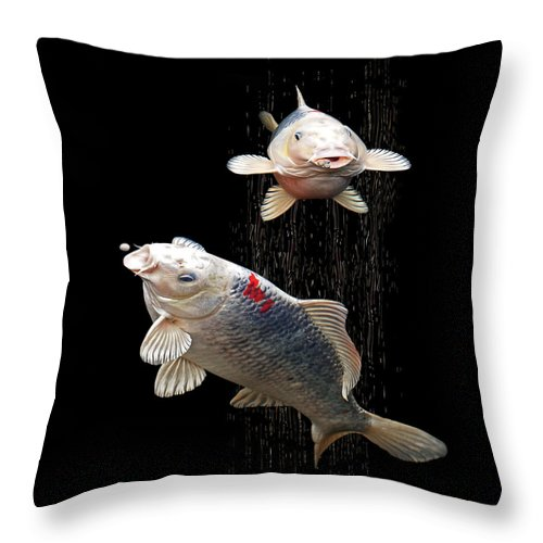 Fish Throw Pillow featuring the photograph Feeding The Koi by Gill Billington