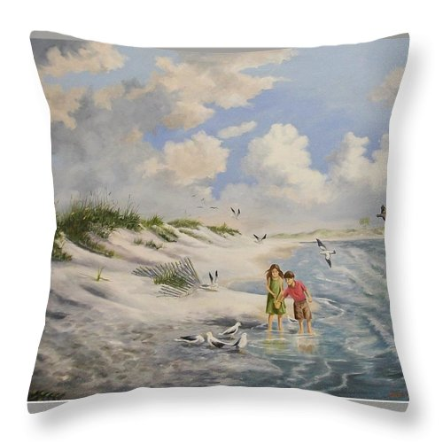 2 Children Throw Pillow featuring the painting Feeding the Wildlife by Wanda Dansereau