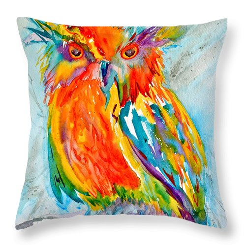 Feeling Owlright Throw Pillow featuring the painting Feeling Owlright by Beverley Harper Tinsley