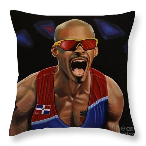 Felix Sanchez Throw Pillow featuring the painting Felix Sanchez by Paul Meijering
