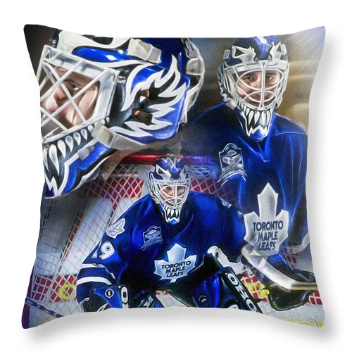 Felix Potvin Throw Pillow featuring the painting Felix The Cat by Mike  Oulton b117d54a8