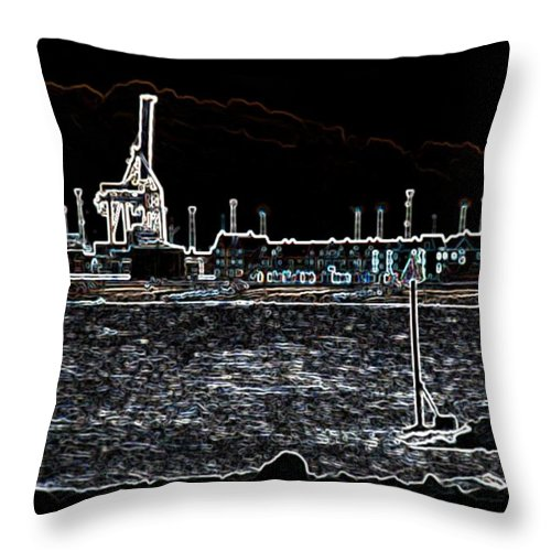 Felixstowe Throw Pillow featuring the photograph Felixstowe Glow 001 by Alan Waters