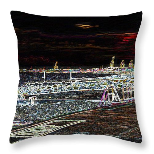 Felixstowe Throw Pillow featuring the photograph Felixstowe Glow 002 by Alan Waters