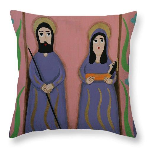 Feliz Navidad Throw Pillow featuring the painting Feliz Navidad by Marna Edwards Flavell
