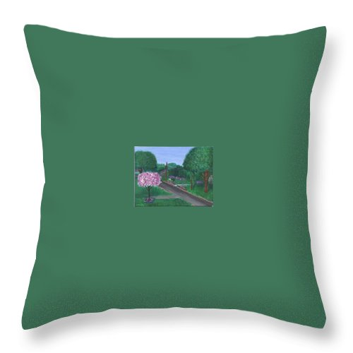 Plein Aire Throw Pillow featuring the painting Fellowship by Sheila Mashaw