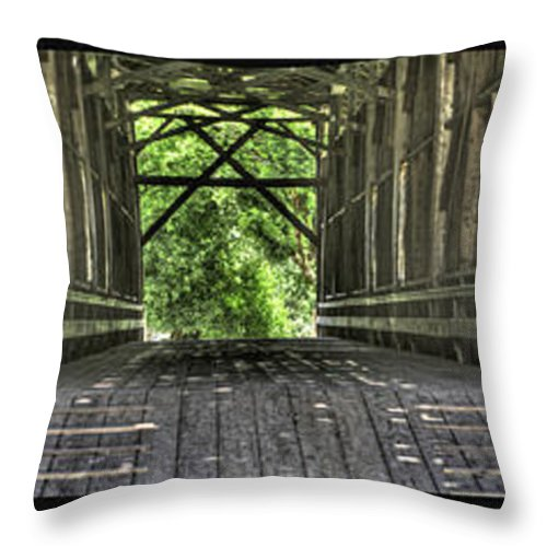 Architecture Throw Pillow featuring the photograph Felton Covered Bridge Panel by SC Heffner