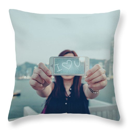 People Throw Pillow featuring the photograph Female Is Saying I Love You With Her by D3sign