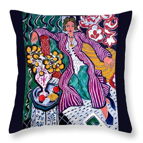 Matisse Throw Pillow featuring the painting Femme Au Manteau Violet by Tom Roderick
