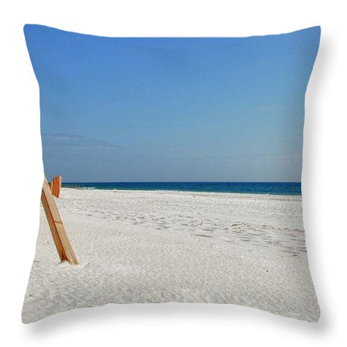 Alabama Throw Pillow featuring the digital art Fence On The Beach by Michael Thomas