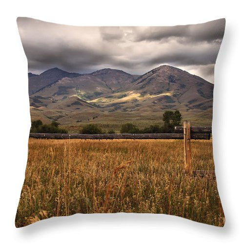 Solider Mountains Throw Pillow featuring the photograph Fence View by Robert Bales