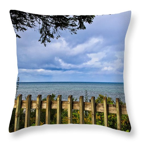 Fenced View Throw Pillow featuring the photograph Fenced View by Rachel Cohen