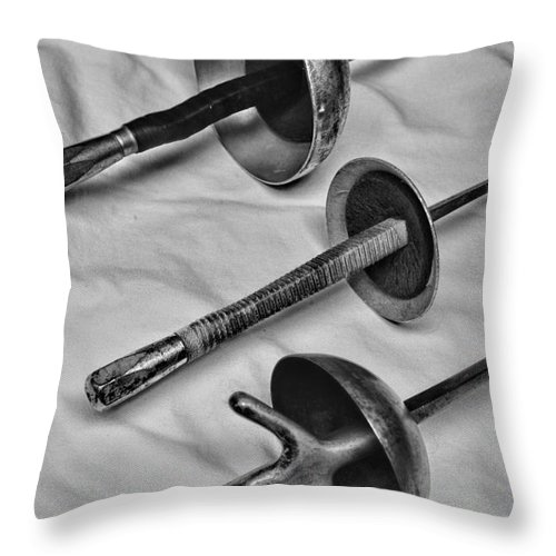 Paul Ward Throw Pillow featuring the photograph Fencing - Fencing Swords by Paul Ward