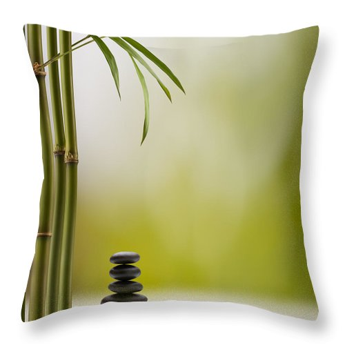 Bamboo Throw Pillow featuring the photograph Feng Shui Bliss by Pixhook
