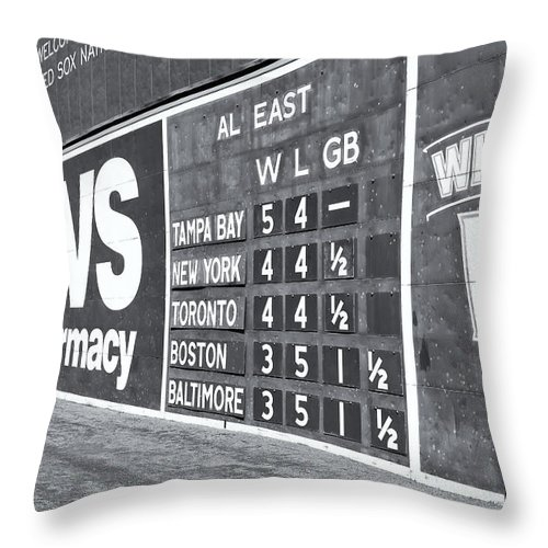 Clarence Holmes Throw Pillow featuring the photograph Fenway Park Green Monster Scoreboard II by Clarence Holmes