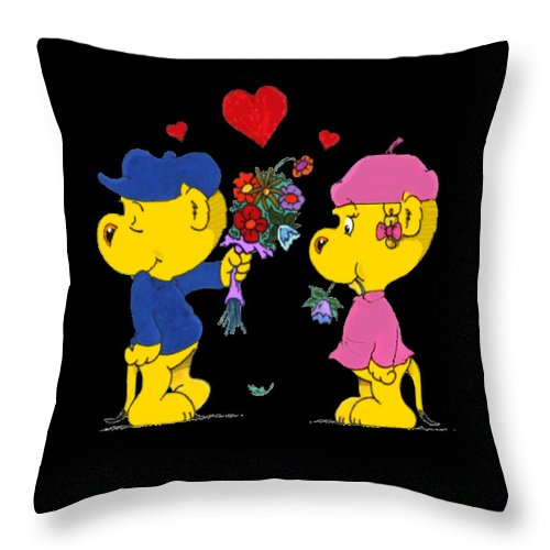 Ferald Throw Pillow featuring the drawing Ferald And Sahsha by Keith Williams