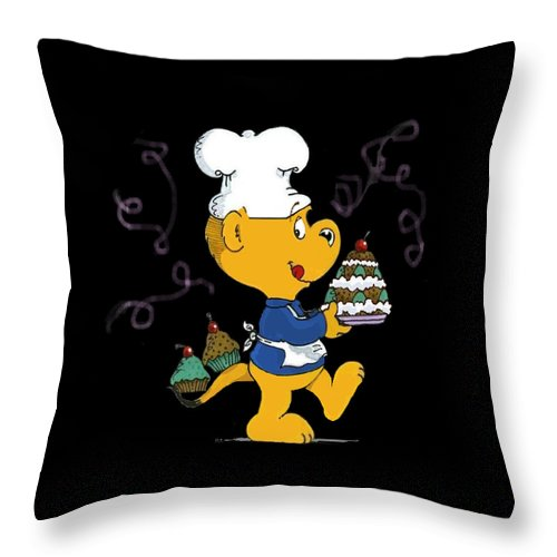 Ferald Throw Pillow featuring the drawing Ferald's Goodies by Keith Williams