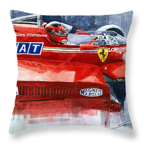 Watercolor Throw Pillow featuring the painting Ferrari 126c Silverstone 1981 British Gp Gilles Villeneuve by Yuriy Shevchuk