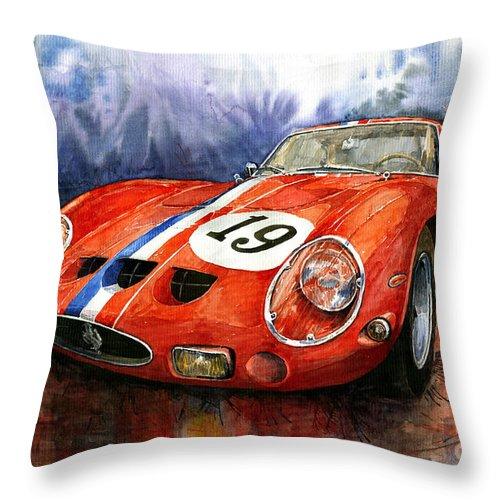 Watercolour Throw Pillow featuring the painting Ferrari 250 Gto 1963 by Yuriy Shevchuk