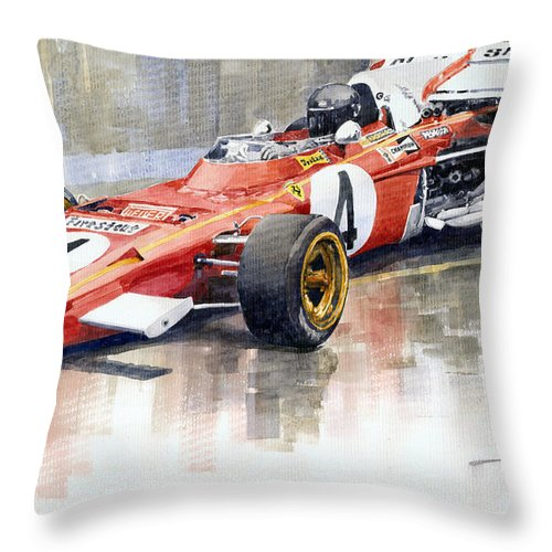 Watercolor Throw Pillow featuring the painting 1971 Ferrari 312 B2 1971 Monaco GP F1 Jacky Ickx by Yuriy Shevchuk