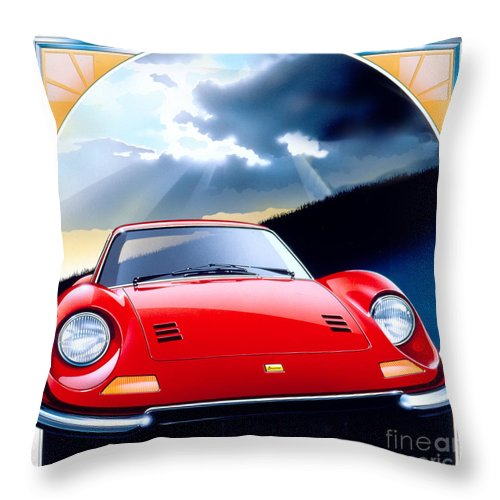 80's Throw Pillow featuring the digital art Ferrari Dino by MGL Meiklejohn Graphics Licensing