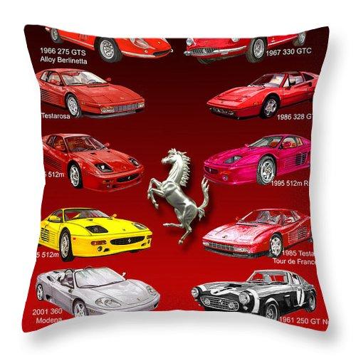 Framed Prints Of Ferrari Art Throw Pillow featuring the painting Ferrari Sports Car Poster by Jack Pumphrey
