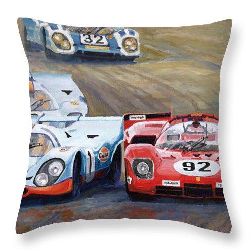 Acrilic On Canvas Throw Pillow featuring the painting Ferrari vs Porsche 1970 Watkins Glen 6 Hours by Yuriy Shevchuk