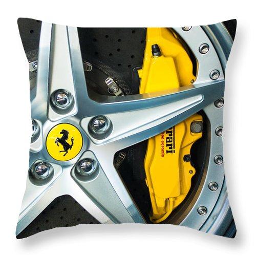 Ferrari Throw Pillow featuring the photograph Ferrari Wheel 3 by Jill Reger