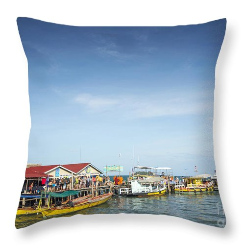 Asia Throw Pillow featuring the photograph Ferries At Koh Rong Island Pier In Cambodiaferries At Koh Rong I by Jacek Malipan