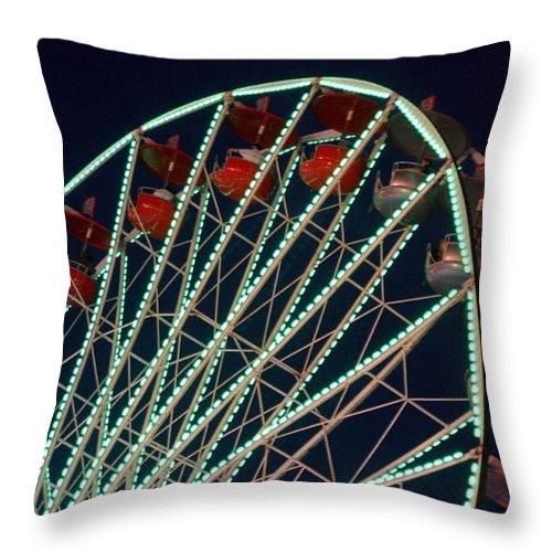 Ferris Wheel Throw Pillow featuring the photograph Ferris Wheel After Dark by Joe Kozlowski