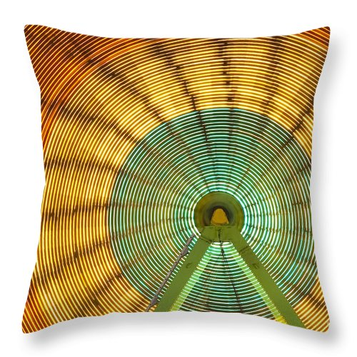 Americana Throw Pillow featuring the photograph Ferris Wheel Evergreen State Fair by Jim Corwin